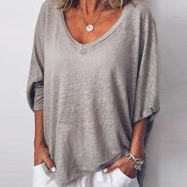 Casual V Neck Long Batwing Sleeve Blouses