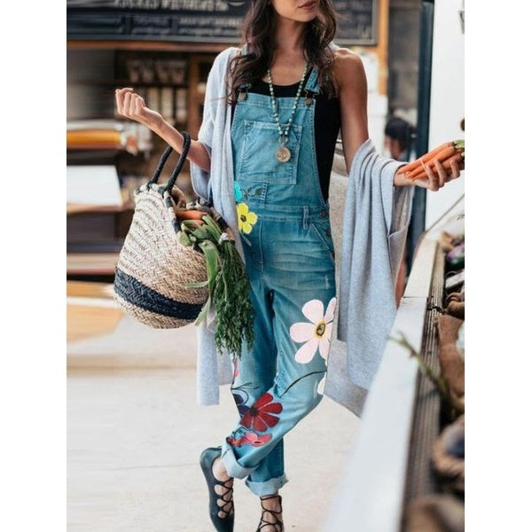 Casual Floral-Print Denim Jumpsuits