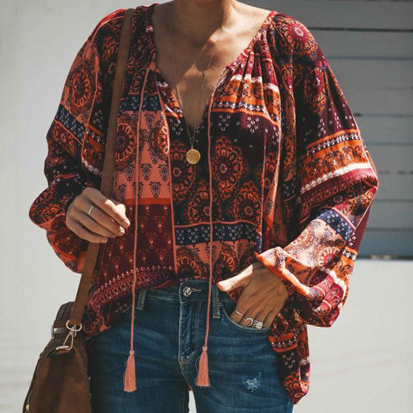 Bohemian V Neck Long Sleeve Blouse