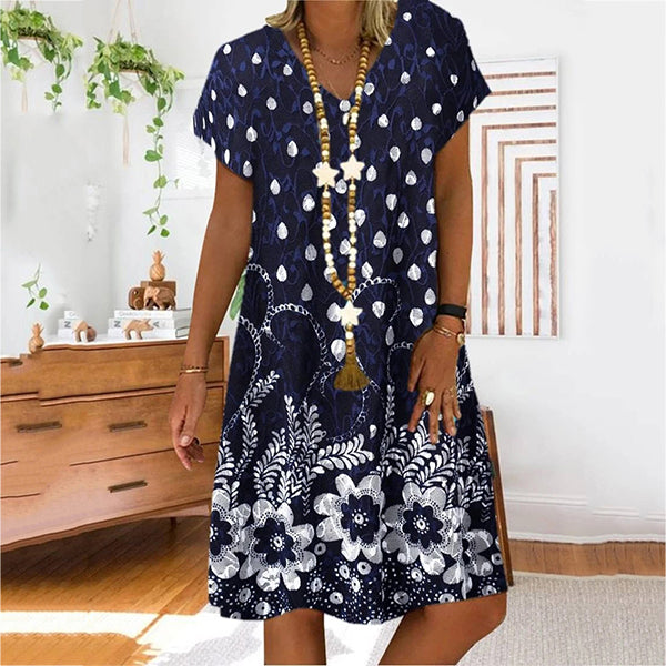 Flower Print V-neck Short Sleeve Women Dress
