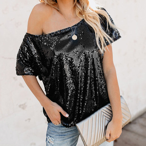Fashion Loose Strapless Shining Blouse