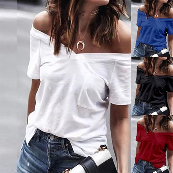 Casual V Neck Off-The-Shoulder Blouse