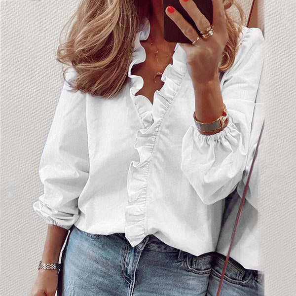 Women Fashion Solid Color Blouse