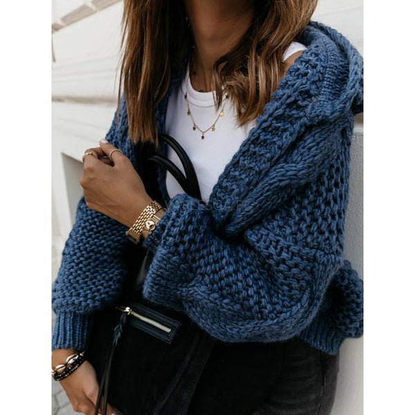 Winter Thick Needle Lantern Sleeve Cardigan