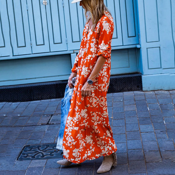 Bohemian Long Sleeve Printed Dresses