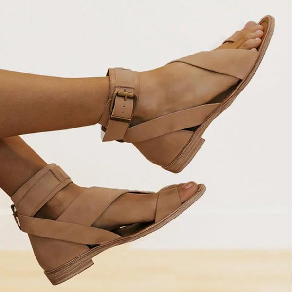 Women's Buckle Toe Ring Mid-top Roman Style Sandals
