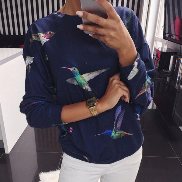 Casual Autumn Cactus Banana Leaf Bird Printed Hoodies Autumn Women Sweatshirt Pullovers Pull Jumper Blouse