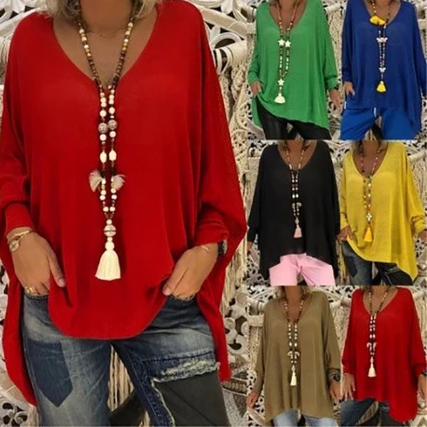 Women Casual Solid Color Long Sleeve Fall Loose Blouses
