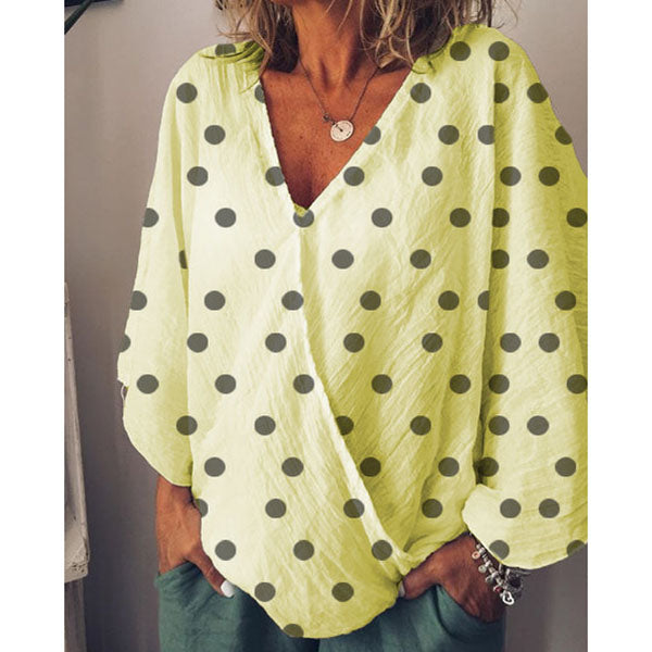 Casual Polka Dot V Neck Blouse