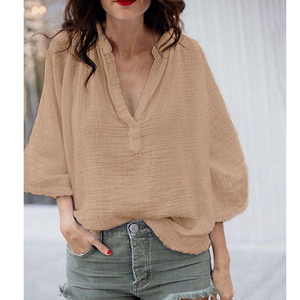 Plus Size Loose V Neck Blouse