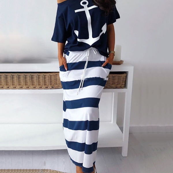 Boat Anchor Print Striped Skirt