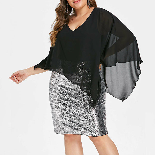 Plus Size V Neck Shinning Dress