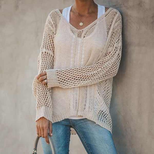 Hollow Solid Color V-neck Casual Blouses