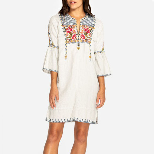 Casual Women Summer V Neck Embroidery Tunic Dress