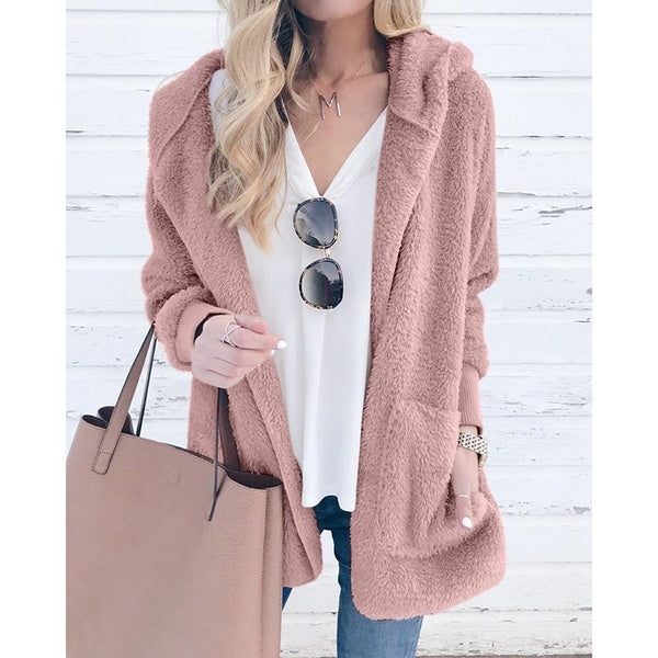 Fashion Women's Solid Color Cardigan Hooded Jacket Coat