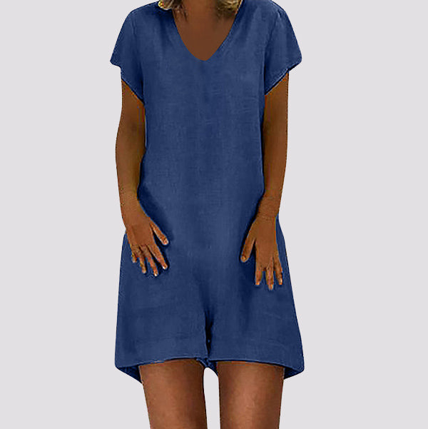 Casual Short Sleeve Solid Color Jumpsuits