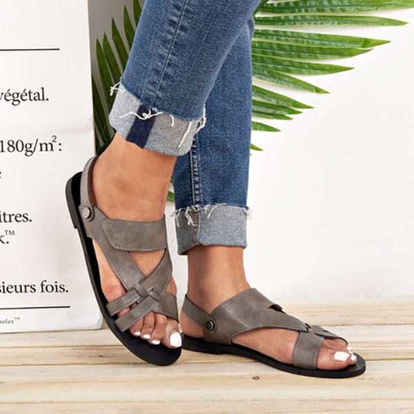 Simple Cross Strap Flat Sandals