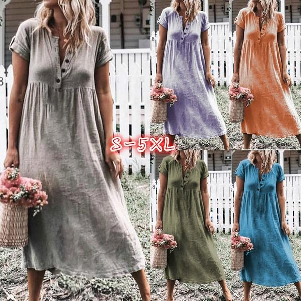Button Fly Daily Casual Dresses