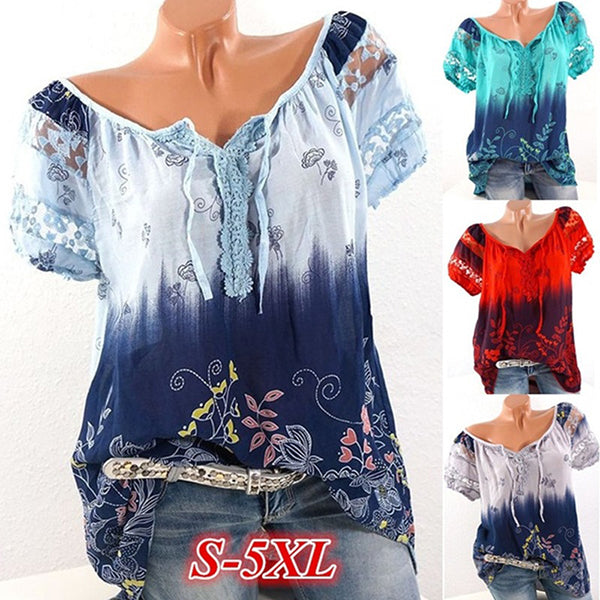 Casual V Neck Hollow Printed Blouse