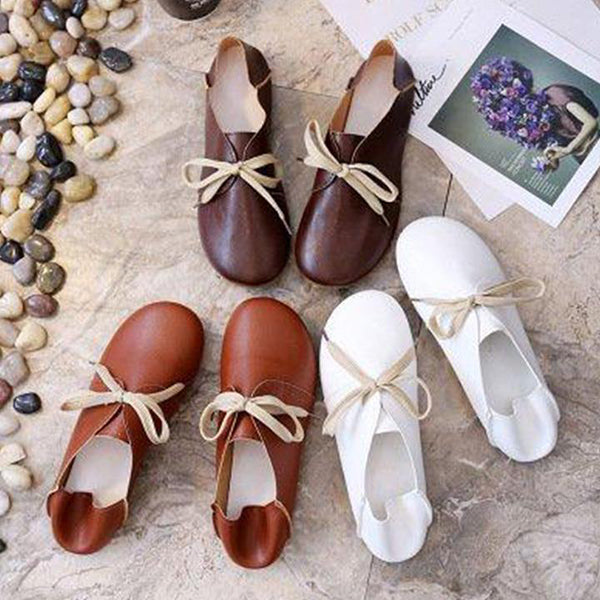 Daily Solid Color Lace-Up Flat Shoes