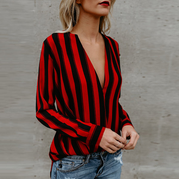 Sexy Stripe V Neck Blouse