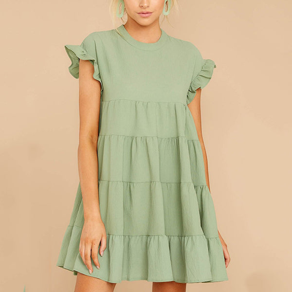 Loose Round Neck Ruffle Sleeve Dress
