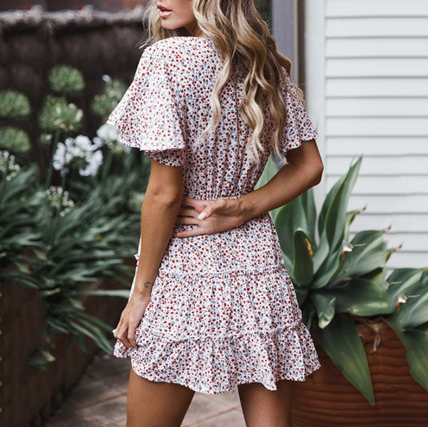 Flower Printed V Neck Ruffle Sleeve Dress