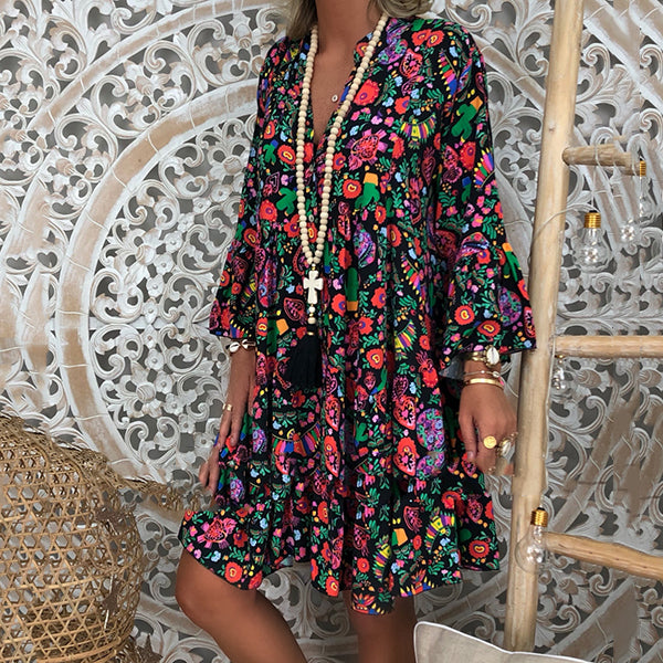 Bohemian Loose Casual Printed Dress