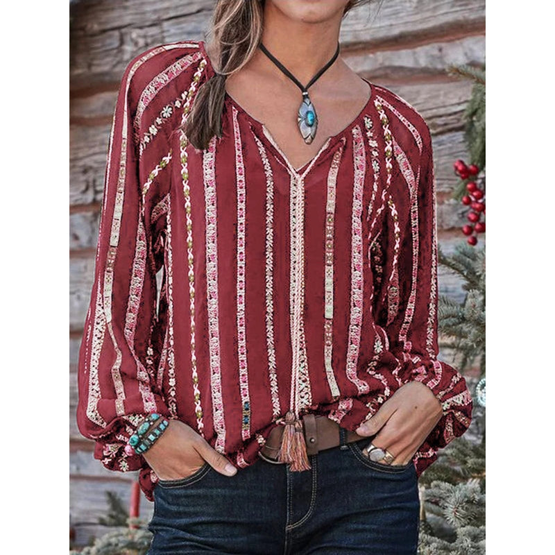 Women Fashion Striped Printed V-neck Blouses