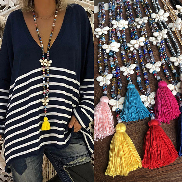 Color Butterfly Bohemian Tassel Necklace