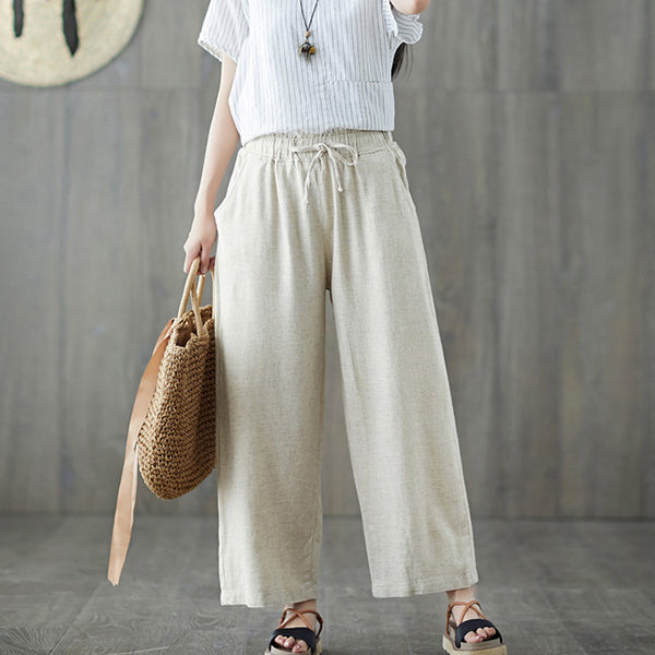 Casual Women Linen Solid Color Pants