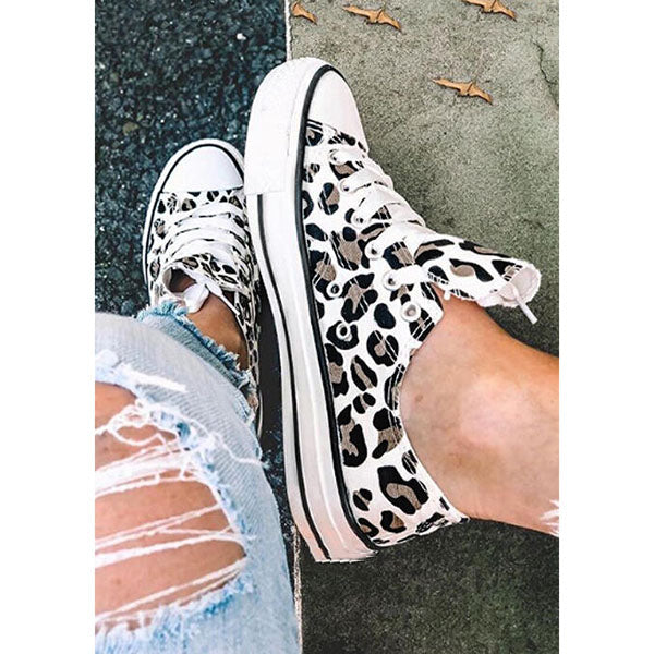Casual Platform Printed Lace-Up Sneakers