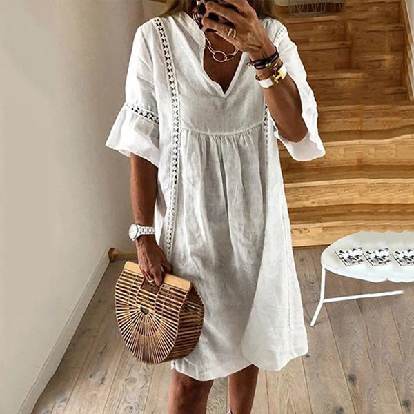 Ruffle Sleeve V Neck Solid Color Dress