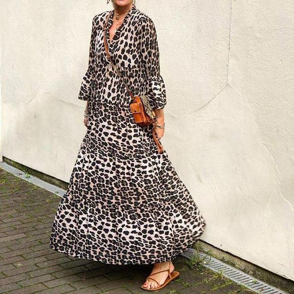Women Beach V-Neck Leopard Printed Draped Mini/Maxi Dress