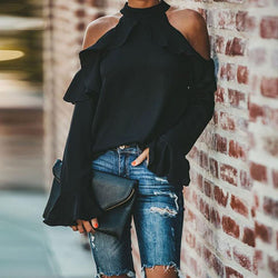 Fashion Strapless Ruffle Sleeve Blouse