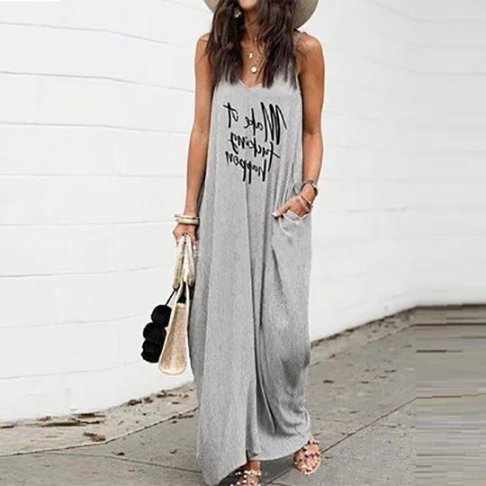Daily Printed Loose V Neck Maxi Dress