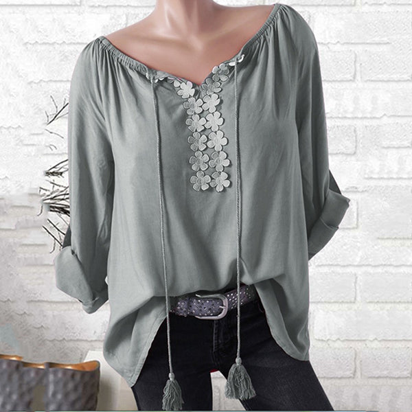 Casual V Neck Tassel Solid Color Blouse