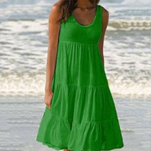 Plus Size Sleeveless Solid Color Dress