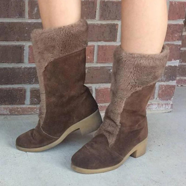 Suede Chunky Heel Shearling Shape Casual Boots