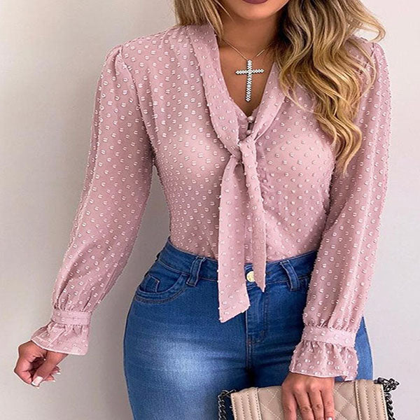 Tied Neck Dot Long Sleeve Blouses