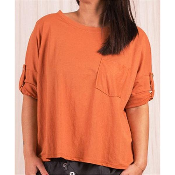 Solid Color Round Neck Pocket Blouse