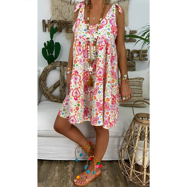 Women Summer Casual Loose Lace-up Round-neck Printed Dress