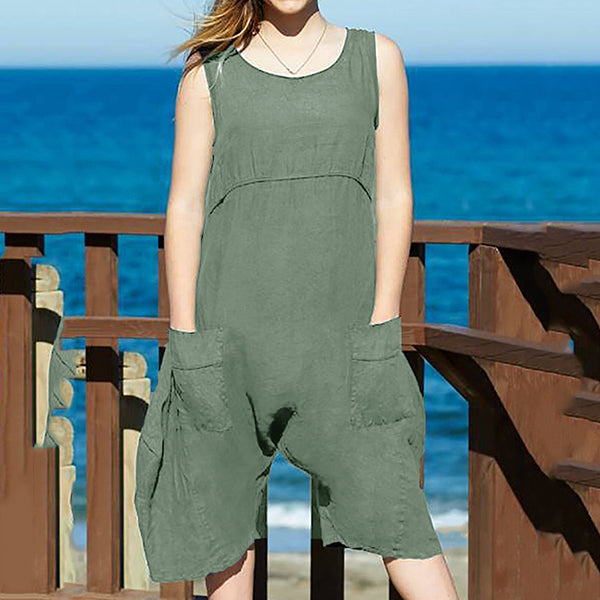 Solid Color Sleeveless Pocket Jumpsuits