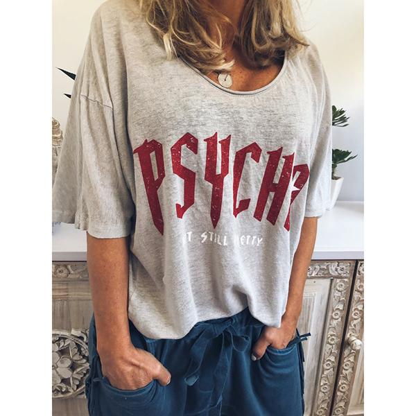 Casual Letter Printed Short Sleeve Round Neck Blouse