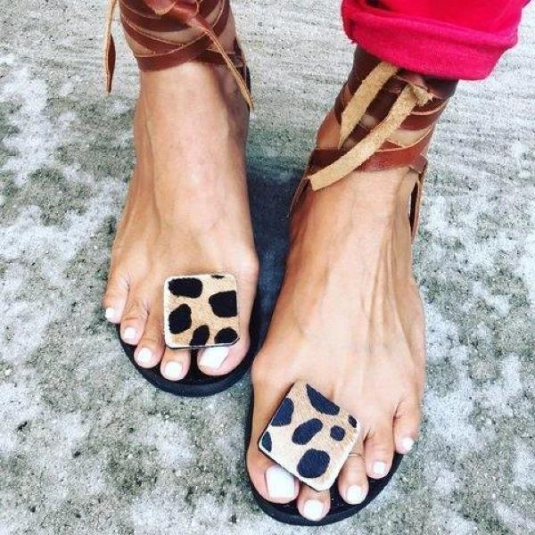 Women Lace Up Leopard Peep Toe Holiday Flat Sandals