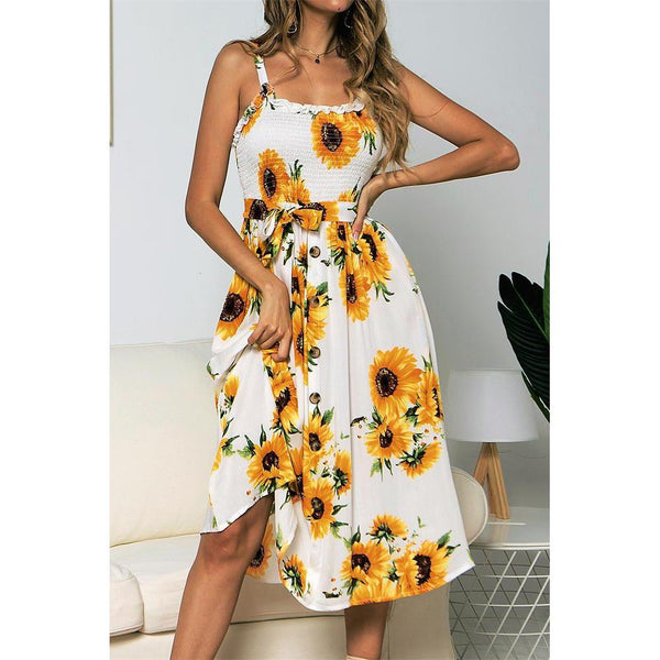 Sling Ruffled Sunflower Printed Button Dress