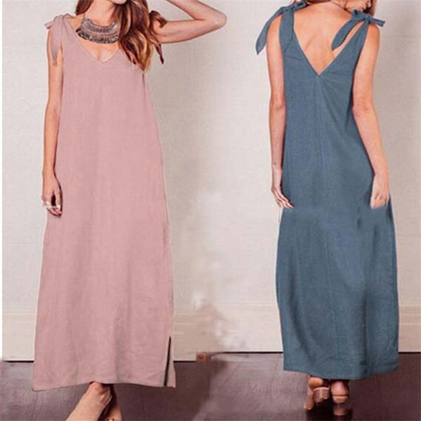 V  Neck Lace-Up Sleeveless Maxi Dress