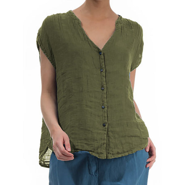 Casual V Neck Short Sleeve Buttons Blouses