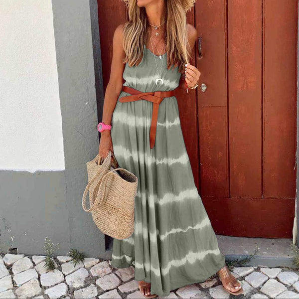 Women Summer Fashion Slim Print Suspender Maxi Dress