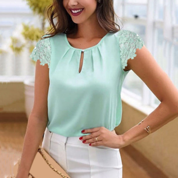 Solid Color Lace Sleeve Blouse